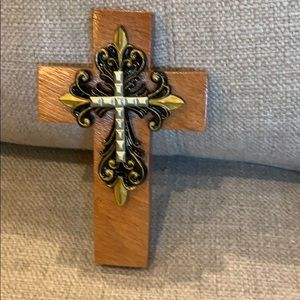 "7"" Handmade Wood Cross Black & Gold Accents"